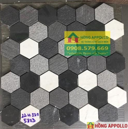 Gạch trang trí lục giác màu đen-xám-trắng phối mầu