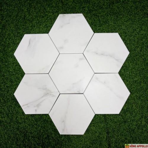 Gạch lục giác mầu trắng, lục giác trắng vân mây giá rẻ