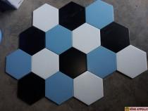Gạch lục giác màu xanh biển phối mầu tuyệt đẹp